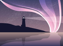 Phare sur la roche avec la mer et la lumière du nord Photo libre de droits