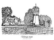 Phare, tour d'eau, paysage rural avec la vieille ferme, jardin sur des rivages de lac, illustration tirée par la main d'isolement Photos libres de droits