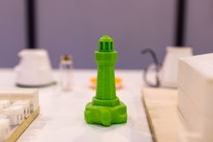 Phare vert imprimé dans 3d Preuve de l'impression 3D utilisant un thr Photos stock