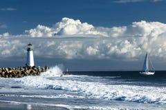 Phare Walton sur Santa Cruz Shore Images libres de droits