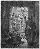 The Pharisee and the Publican. Picture from The Holy Scriptures, Old and New Testaments books collection published in 1885, Stuttgart-Germany. Drawings by royalty free illustration