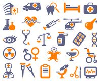 Pharma and Healthcare icons. Icons of pharmacology and medicine. Vector illustration Stock Image