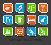 Pharma and Healthcare icons on stickers. Vector illustration Royalty Free Stock Photos