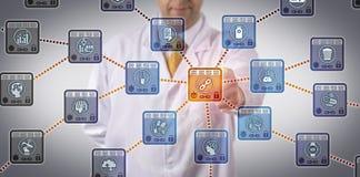Pharma Scientist Tracking Supply Chain Via DLT. Unrecognizable pharmaceutical scientist managing drug supply chain via DLT application. Pharma information Stock Images
