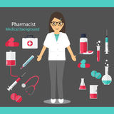 Pharmaceutic background. Pharmacist with medicine and instrument. S. Vector illustration Royalty Free Stock Image