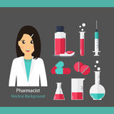 Pharmaceutic background. Pharmacist with medicine and instrument. S. Vector illustration Stock Photo