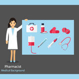Pharmaceutic background. Pharmacist with medicine and instrument. S. Vector illustration Stock Photos