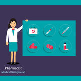 Pharmaceutic background. Pharmacist with medicine and instrument. S. Vector illustration Stock Image
