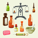 Pharmaceutical apothecary elements set. Realistic bottles for essential oils Stock Images