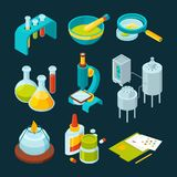 Pharmaceutical and chemical industry isometric illustrations stock illustration