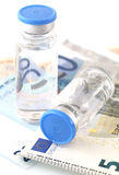 Pharmaceutical cost. The cost of the pharmaceutical products Stock Images