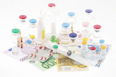 Pharmaceutical cost. The cost of Pharmaceutical products Stock Image