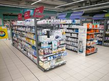 Pharmaceutical department shelves inside a shopping center in Rome in Italy. ROME, ITALY. April 11, 2018: Shelves of the pharmaceutical department inside a Royalty Free Stock Images