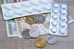 Pharmaceutical drugs and pills on Bank Royalty Free Stock Image