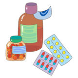 Pharmaceutical drugs. In tablets, pills, capsules and syrop Stock Photos