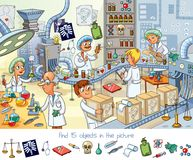 Pharmaceutical factory. Find 15 objects in the picture. Funny cartoon character. Vector illustration Stock Photos