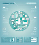 Pharmaceutical industry infographics. Pharmaceutical industry and medicine vector infographics with drugs, pills, bottles and packages, text blocks and charts Royalty Free Stock Photography