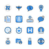 Pharmaceutical industry lineart flat vector icon set. Stock Image