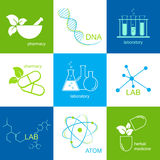 Pharmaceutical and lab icons Stock Photos