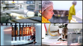 Pharmaceutical Manufacturing. Collage of video clips showing pharmaceutical equipment for medicine production in pharmaceutical plant. Medical Ampules