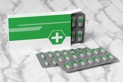 Pharmaceutical Packaging Mockup - 3d rendering stock illustration