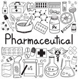 Pharmaceutical and pharmacist doodle handwriting icons Stock Photo