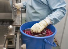 Pharmaceutical production. With bliser packing machine and human hand in gloves Royalty Free Stock Photo