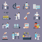 Pharmaceutical Production Icons Set. With research and science symbols flat isolated vector illustration Stock Image