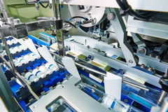 Pharmaceutical production line. Pharmaceutical packing production line conveyer at manufacture pharmacy factory Stock Photo