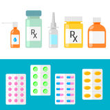 Pharmaceutical products. Pills, capsules and bottles. Royalty Free Stock Images
