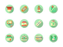 Pharmaceutical products round color icons Stock Image