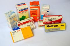 Pharmaceutical products in Venezuela. Photo of some drugs marketed in Venezuela Stock Photo