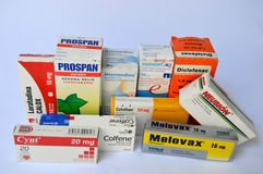 Pharmaceutical products in Venezuela. Photo of some drugs marketed in Venezuela Royalty Free Stock Photography