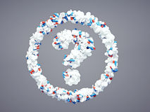 Pharmaceutical question mark. 3d pharmaceutical question mark with included clipping path Royalty Free Stock Photography