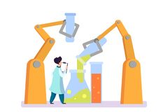 Pharmaceutical research. Scientist making the clinical test. Pharmaceutical research. Scientist making clinical test and analysis. New medicine development royalty free illustration