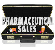 Pharmaceutical Sales Briefcase Medicine Samples Pills Capsules. Pharmaceutical Sales 3d words in a black leather briefcase to illustrate medical salespeople Royalty Free Stock Photos