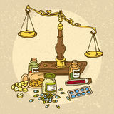 Pharmaceutical Scales and Pills Royalty Free Stock Images