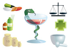 Pharmaceutical set of symbols. Illustration of pharmaceutical or medical symbols in seven parts with snake and glass in the center Stock Photography