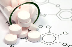 Pharmaceutical Technology. Chemical Structure and Tablets of Certain Kind of Medicine in New Drug Discovery Concept and Pharmaceutical Technology Royalty Free Stock Photography