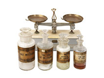 Pharmaceutical vintage products. This are true pharmaceutical objects and medicinal drugs used before and after 1900s year Stock Photo