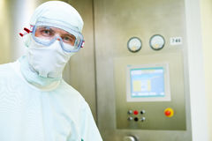 Pharmaceutical worker in protective uniform Royalty Free Stock Photos