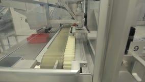 pharmaceutics Den farmaceutiska arbetaren fungerar den förpackande maskinen för minnestavlablåsan tillverkning av injektionssprut royaltyfri bild