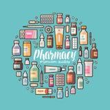 Pharmacie, bannière de pharmacologie Fournitures médicales, drogues, médecine, icônes de médicament ou symboles réglés Vecteur de illustration de vecteur