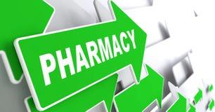 Pharmacie stigmatisant sur le signe vert de flèche de direction Image libre de droits