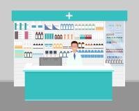 Pharmacien au travail Pharmacien au compteur dans la pharmacie illustration libre de droits