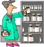 Pharmacien féminin illustration stock