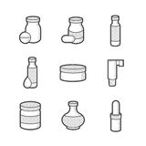 Pharmacien médical, icônes de bouteilles Photos stock