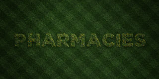 PHARMACIES - fresh Grass letters with flowers and dandelions - 3D rendered royalty free stock image. Can be used for online banner ads and direct mailers Stock Photos