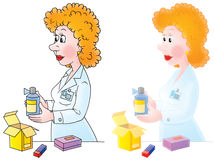 Pharmacist. Isolated clipart illustration of a pharmacist with drugs (2 versions of the drawing with black and color contours Royalty Free Stock Photos