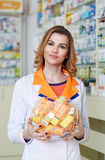 Pharmacist with a bowl of C vitamin Royalty Free Stock Photos